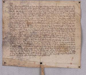 In dieser Urkunde vom 26. Januar 1367 wird der Adelheidisbrunnen im Ortsteil Pützchen zum ersten Mal schriftlich erwähnt.