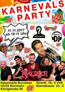 Die große 11.11. Karnevalsparty in der Kaiserhalle Bornheim u.a. mit Räuber, Bruce Kapusta ...