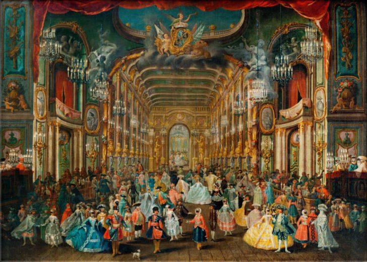 """Glasbild: Franz Rousseau """"Maskentreiben im Hoftheater zu Bonn unter Kurfürst Clemens August von Köln im Jahre 1754"""""""