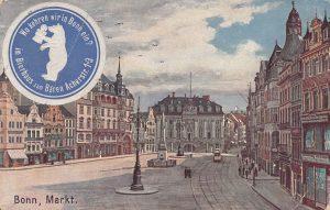 Die Vorderseite der Postkarte mit dem Bonner Marktplatz und dem Alten Rathaus © Stadtarchiv Bundesstadt Bonn