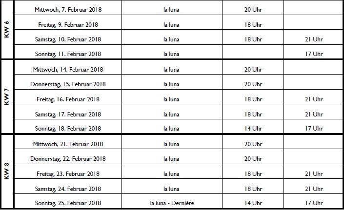 """Spielplan """"la luna"""": 18. Januar bis 25. Februar 2018 GOP Varieté Theater Bonn"""