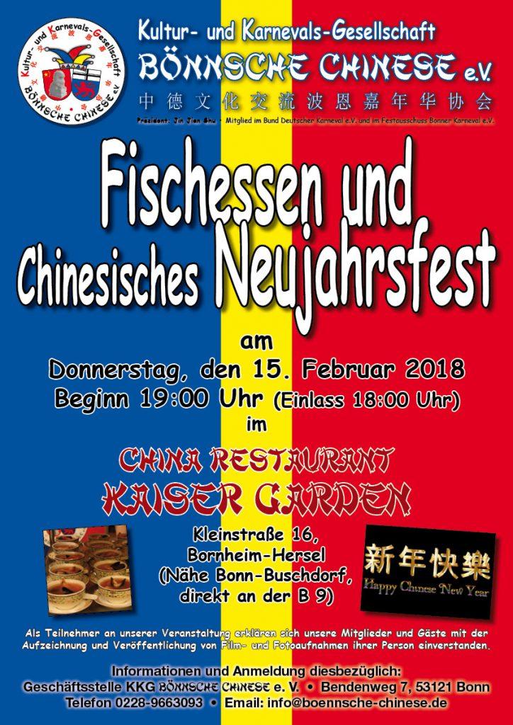 Rosenmontagszug und Fischessen mit Chinesischem Neujahrsfest der Bönnsche Chinese